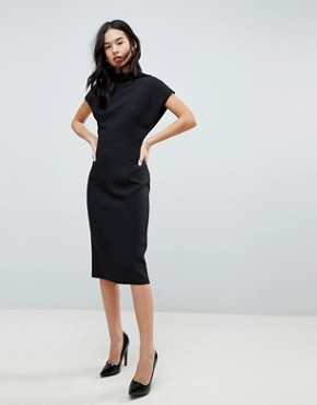 photo Short Sleeve Midi Pencil Dress with Open Back by ASOS DESIGN, color Black - Image 1