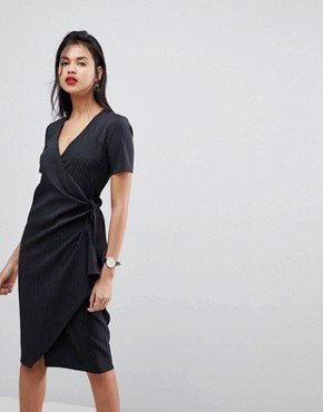photo Clean Wrap Tie Midi Dress in Stripe by ASOS, color Black Stripe - Image 1