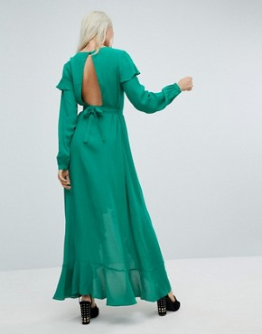 photo Long Sleeve Ruffle Wrap Maxi Tea Dress by ASOS, color Green - Image 2