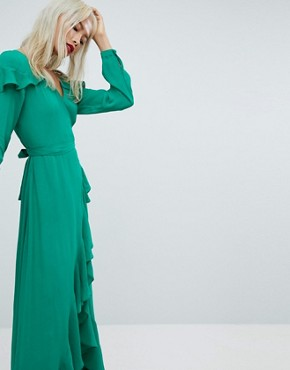 photo Long Sleeve Ruffle Wrap Maxi Tea Dress by ASOS, color Green - Image 1