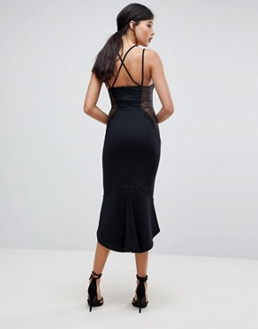 photo Lace Cupped Pephem Strappy Bodycon Dress by ASOS TALL, color Black - Image 2