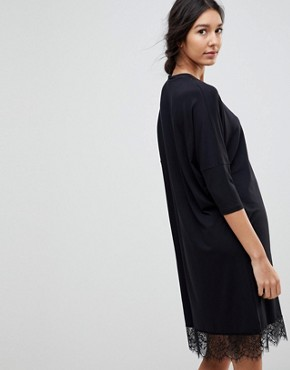 photo Oversize T-Shirt Dress with Batwing Sleeve and Lace Inserts by ASOS TALL, color Black - Image 2