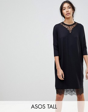 photo Oversize T-Shirt Dress with Batwing Sleeve and Lace Inserts by ASOS TALL, color Black - Image 1