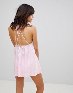 photo Mixed Print Embroidered Beach Sundress by ASOS, color Pink - Image 2