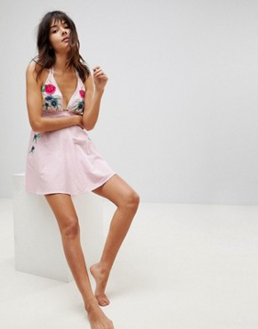 photo Mixed Print Embroidered Beach Sundress by ASOS, color Pink - Image 4