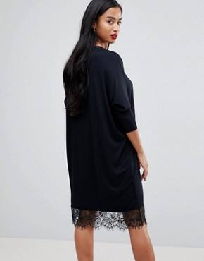 photo Oversize T-Shirt Dress with Batwing Sleeve and Lace Inserts by ASOS PETITE, color Black - Image 2