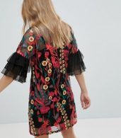 photo Embroidered Shift Dress with Frill Sleeves by RD & Koko, color Black - Image 2