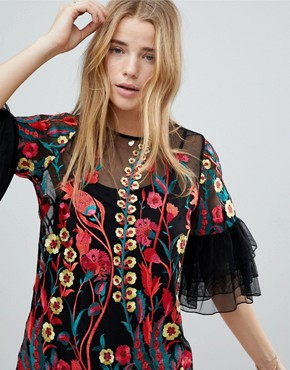photo Embroidered Shift Dress with Frill Sleeves by RD & Koko, color Black - Image 3