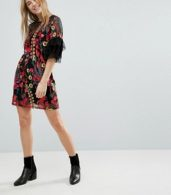 photo Embroidered Shift Dress with Frill Sleeves by RD & Koko, color Black - Image 4
