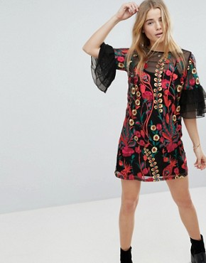 photo Embroidered Shift Dress with Frill Sleeves by RD & Koko, color Black - Image 1