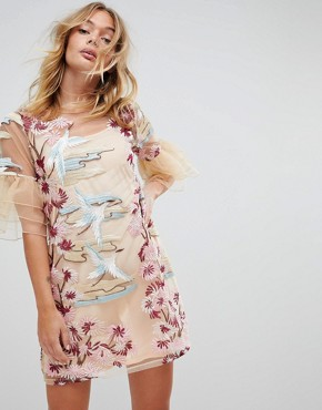 photo Embroied Shift Dress with Frill Sleeves by RD & Koko, color Cream - Image 1