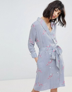 photo Wrap Over Shirt Dress by RD & Koko, color Multi - Image 1