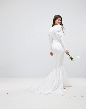 photo Pintuck Shoulder Wedding Dress with Fishtail by ASOS EDITION, color White - Image 2