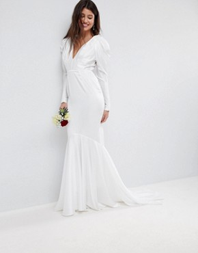 photo Pintuck Shoulder Wedding Dress with Fishtail by ASOS EDITION, color White - Image 1