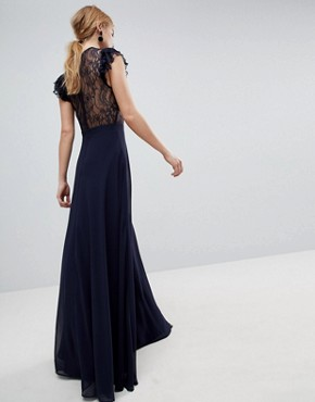 photo Lace Maxi Dress with Lace Frill Sleeve by ASOS, color Navy - Image 2