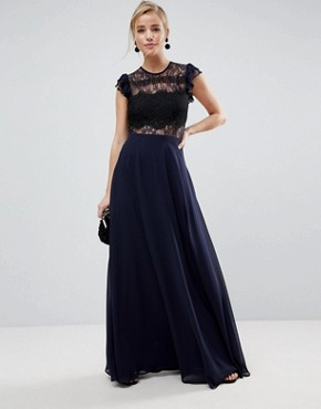 photo Lace Maxi Dress with Lace Frill Sleeve by ASOS, color Navy - Image 1