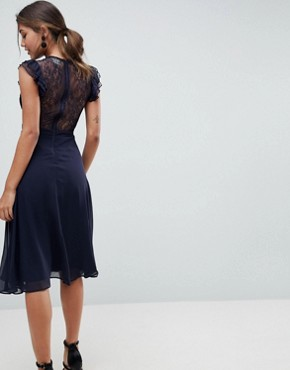 photo Lace Midi Dress with Lace Frill Sleeve by ASOS, color Navy - Image 2