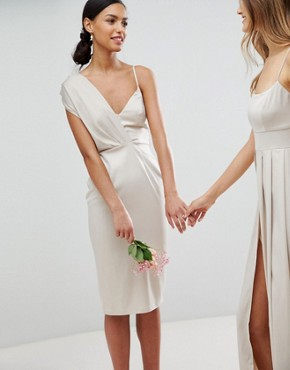 photo Bridesmaid Satin Pencil Midi Dress with Tie Back by ASOS DESIGN, color Champagne - Image 1