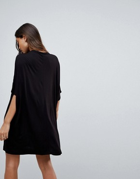 photo T-Shirt Dress with Batwing Sleeves and Chain Neck by ASOS, color Black - Image 2