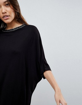 photo T-Shirt Dress with Batwing Sleeves and Chain Neck by ASOS, color Black - Image 3