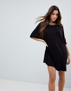 photo T-Shirt Dress with Batwing Sleeves and Chain Neck by ASOS, color Black - Image 1