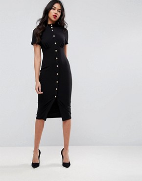 photo Corset Midi Dress with High Neck & Popper Details by ASOS, color Black - Image 1