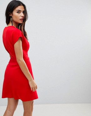 photo Mini Cross Front Origami Dress by ASOS, color Red - Image 2