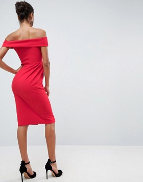 photo Bardot Zip Through Midi Dress by ASOS, color Red - Image 2