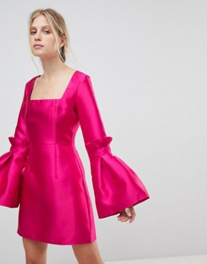 photo Extreme Sleeve Mini Dress with Square Neck by ASOS, color Hot Pink - Image 1