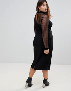 photo Long Sleeve Dobby Mesh Sweetheart Neck Midi Dress by ASOS CURVE, color Black - Image 2