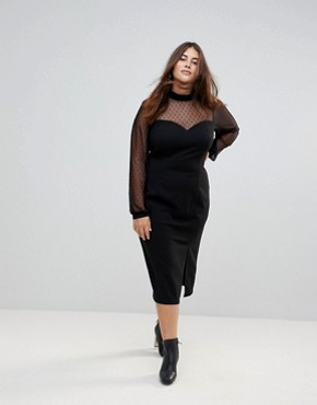 photo Long Sleeve Dobby Mesh Sweetheart Neck Midi Dress by ASOS CURVE, color Black - Image 4