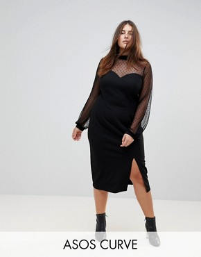 photo Long Sleeve Dobby Mesh Sweetheart Neck Midi Dress by ASOS CURVE, color Black - Image 1