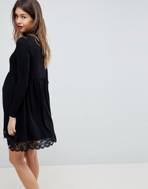 photo Polo Neck Skater Dress with Lace Hem by ASOS Maternity, color Black - Image 2