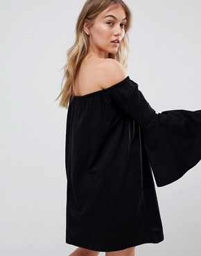 photo Off Shoulder Mini Dress with Trumpet Sleeve by ASOS PETITE, color Black - Image 2