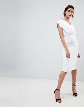photo Origami Wrap Pencil Dress with Lace Up Back by ASOS TALL, color White - Image 2
