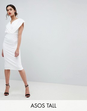 photo Origami Wrap Pencil Dress with Lace Up Back by ASOS TALL, color White - Image 1
