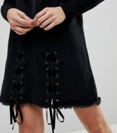 photo Denim Pinafore Dress with Lace Up by Urban Bliss, color Washed Black - Image 3
