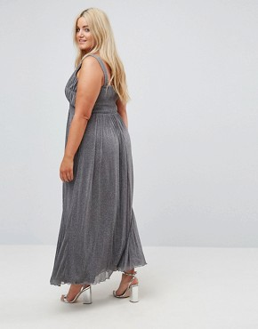 photo Metallic Jersey Maxi Dress with Wrap Detail by Little Mistress Plus, color Silver - Image 2
