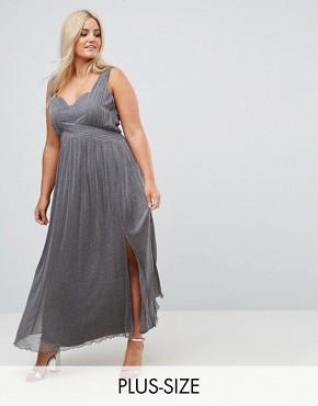 photo Metallic Jersey Maxi Dress with Wrap Detail by Little Mistress Plus, color Silver - Image 1