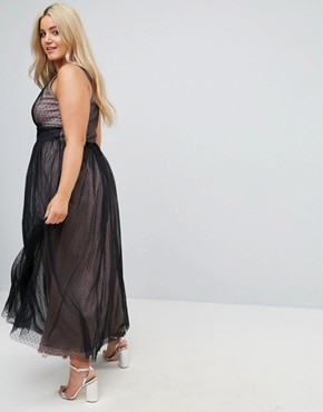 photo Embellished Top Dotty Mesh Maxi Dress by Little Mistress Plus, color Black - Image 2