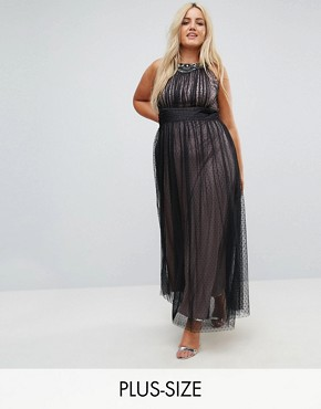 photo Embellished Top Dotty Mesh Maxi Dress by Little Mistress Plus, color Black - Image 1