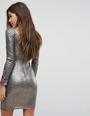 photo Allover Sequin Bodycon Dress with Floral Lace Applique by Little Mistress, color Silver - Image 2