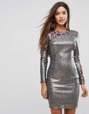 photo Allover Sequin Bodycon Dress with Floral Lace Applique by Little Mistress, color Silver - Image 1