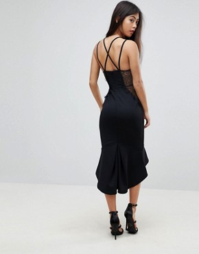 photo Lace Cupped Pephem Strappy Bodycon Dress by ASOS PETITE, color Black - Image 2