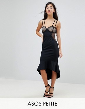 photo Lace Cupped Pephem Strappy Bodycon Dress by ASOS PETITE, color Black - Image 1