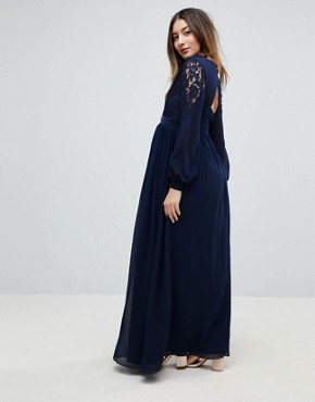 photo Embellished Plunge Front Pleated Maxi Dress with Lace Sleeves by Little Mistress Maternity, color Navy - Image 2