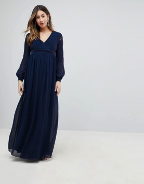 photo Embellished Plunge Front Pleated Maxi Dress with Lace Sleeves by Little Mistress Maternity, color Navy - Image 1