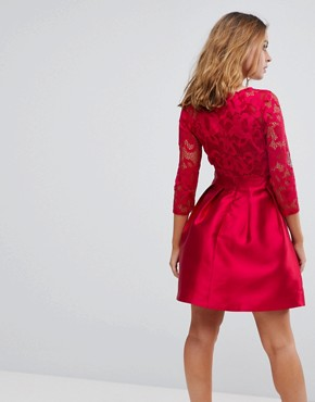 photo 3/4 Sleeve Satin Skater Dress with Lace Upper by Little Mistress Petite, color Berry - Image 2