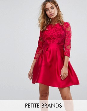photo 3/4 Sleeve Satin Skater Dress with Lace Upper by Little Mistress Petite, color Berry - Image 1