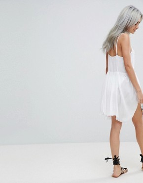 photo Floral Cross Stitch Embroidered Strappy Beach Sundress by ASOS PETITE, color White - Image 2